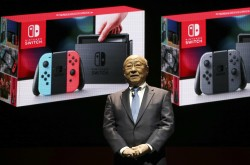 Nintendo president Tatsumi Kimishima speaks during a presentation event of the new Nintendo Switch in Tokyo, 2017.